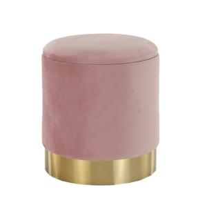 Puff, rózsaszín Velvet anyag/gold króm-arany, ANIZA