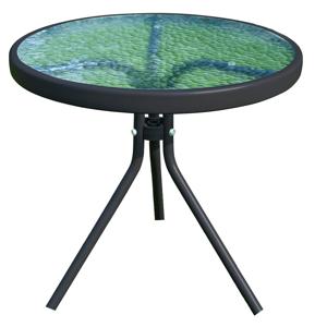 Kerti konferenciaasztal, fekete acél/edzett üveg, HABIR
